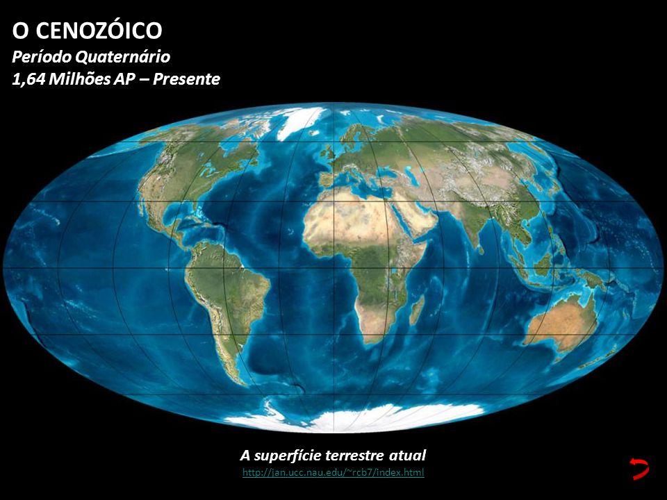 A superfície terrestre atual http://jan.ucc.nau.edu/~rcb7/index.html O CENOZÓICO Período Quaternário 1,64 Milhões AP – Presente