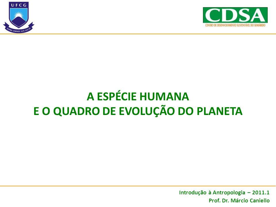 A ESPÉCIE HUMANA E O QUADRO DE EVOLUÇÃO DO PLANETA Introdução à Antropologia – 2011.1 Prof. Dr. Márcio Caniello