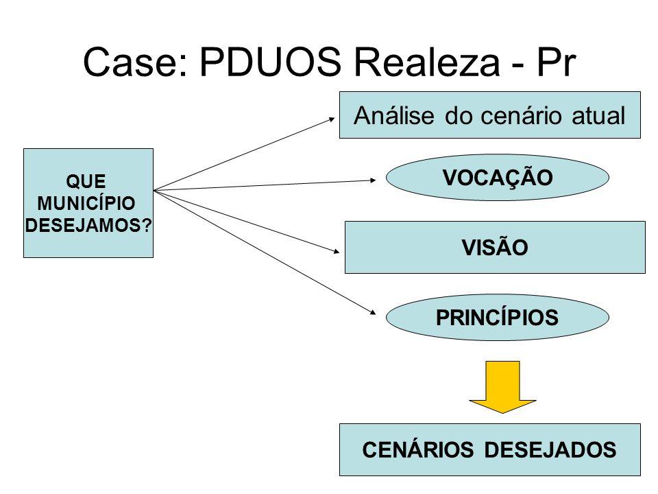Case: PDUOS Realeza - Pr Análise do cenário atual VOCAÇÃO QUE MUNICÍPIO DESEJAMOS? VISÃO PRINCÍPIOS CENÁRIOS DESEJADOS