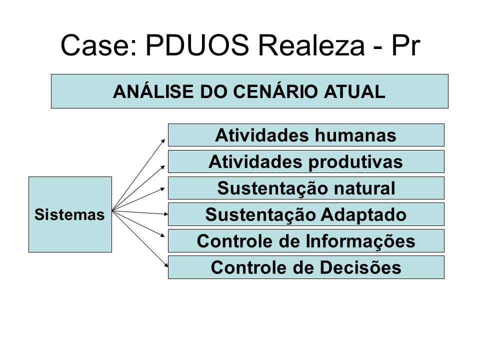 Case: PDUOS Realeza - Pr ANÁLISE DO CENÁRIO ATUAL Sistemas Atividades humanas Atividades produtivas Sustentação natural Sustentação Adaptado Controle