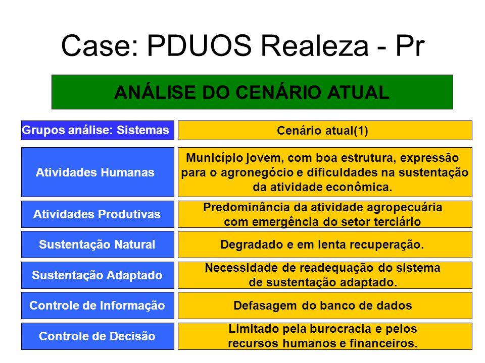 Case: PDUOS Realeza - Pr ANÁLISE DO CENÁRIO ATUAL Grupos análise: Sistemas Atividades Humanas Município jovem, com boa estrutura, expressão para o agr