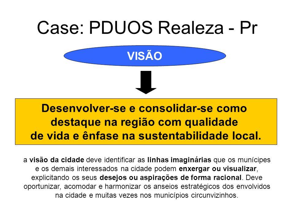 Case: PDUOS Realeza - Pr VISÃO Desenvolver-se e consolidar-se como destaque na região com qualidade de vida e ênfase na sustentabilidade local. a visã