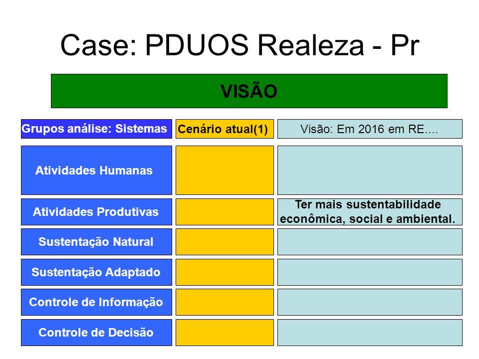 Case: PDUOS Realeza - Pr VISÃO Grupos análise: Sistemas Atividades Humanas Cenário atual(1) Atividades Produtivas Sustentação Natural Sustentação Adap