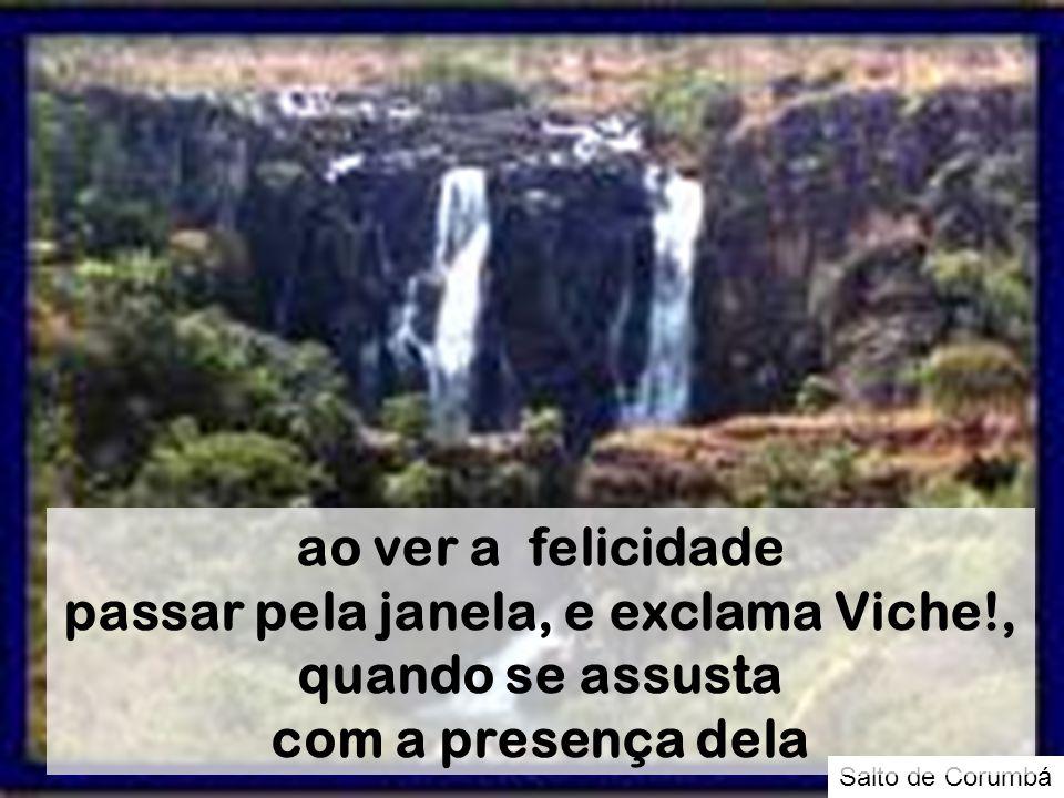 Salto de Corumbá ao ver a felicidade passar pela janela, e exclama Viche!, quando se assusta com a presença dela