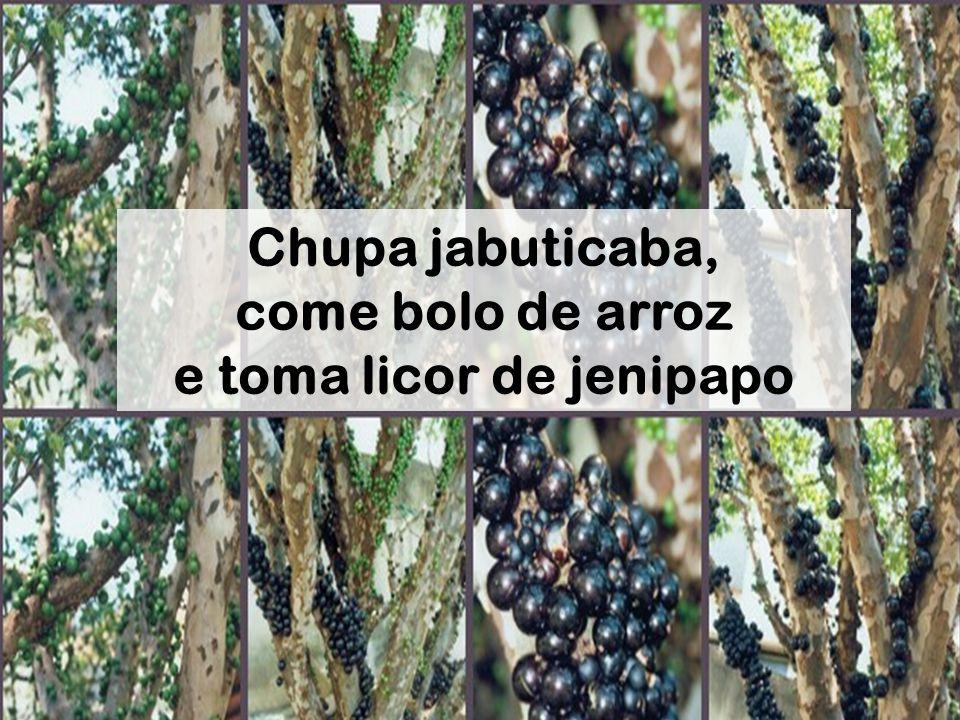Chupa jabuticaba, come bolo de arroz e toma licor de jenipapo