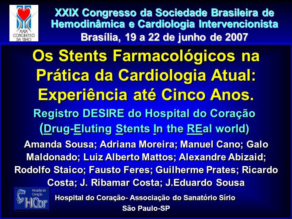 Registro DESIRE – Eventos Cardíacos Maiores na Evolução Tardia até 5 Anos Infarto Q ñ Q ñ Q Revascularização do Vaso-Alvo ICP ICP CIR CIRÓbito Cardíaco Cardíaco não Cardíaco não Cardíaco Eventos Maiores* 24 (2,6) 7 (0,8) 17 (1,8) 35 (3,9) 26 (2,9) 9 (1,0) 23 (2,5) 11 (1,2) 12 (1,3) 70 (7,7) Grupo I < 70 a n = 901 P Grupo III > 80 a n = 114 P Grupo II 71 - 79 a n = 331 P 6 (1,8) 1 (0,3) 5 (1,5) 1 (0,3) 4 (1,2) 14 (4,2) 7 (2,1) 18 (5,4) 2 (1,7) 0 (0) 2 (1,7) 0 (0)** 0 (0) 13 (11,4)** 5 (4,4) 8 (7,0) 7 (6,1) *Obc + IM + RVA ** p < 0,05 (GI x GIII; GII x GIII) Eventos (n/%)