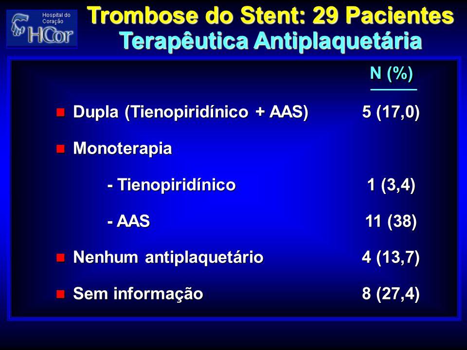Trombose do Stent: 29 Pacientes Terapêutica Antiplaquetária Trombose do Stent: 29 Pacientes Terapêutica Antiplaquetária Dupla (Tienopiridínico + AAS)