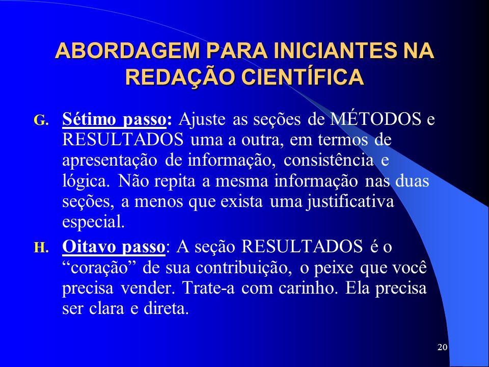 20 ABORDAGEM PARA INICIANTES NA REDAÇÃO CIENTÍFICA G.
