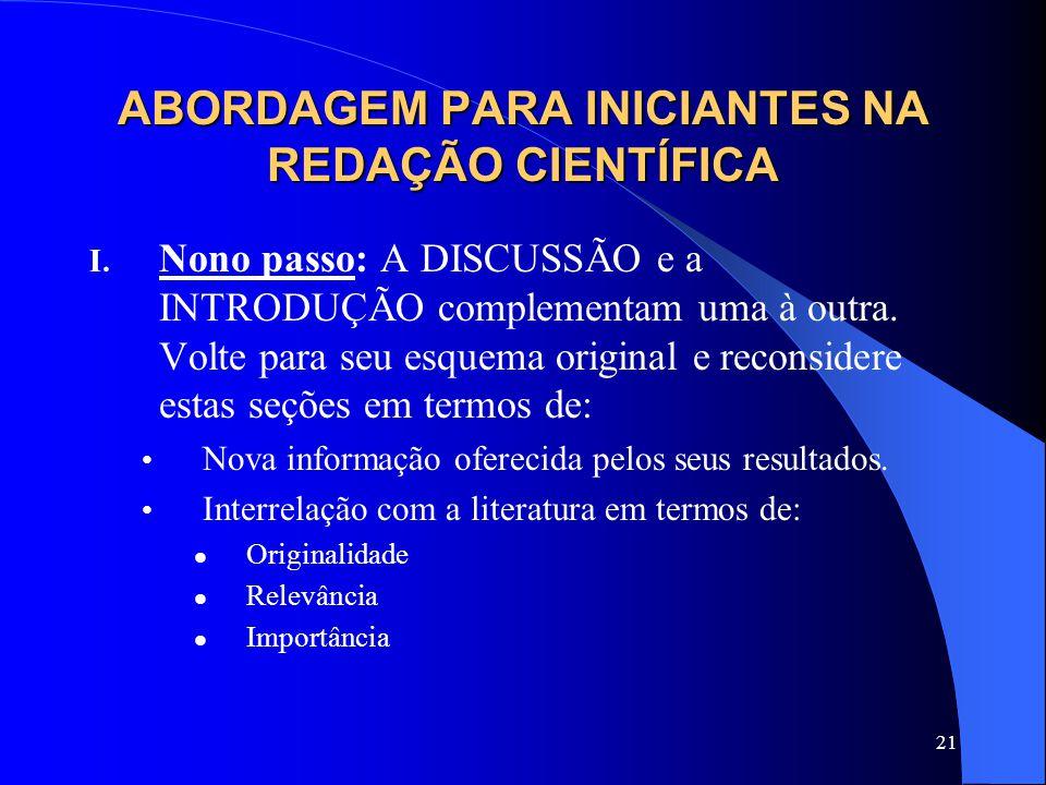 21 ABORDAGEM PARA INICIANTES NA REDAÇÃO CIENTÍFICA I.