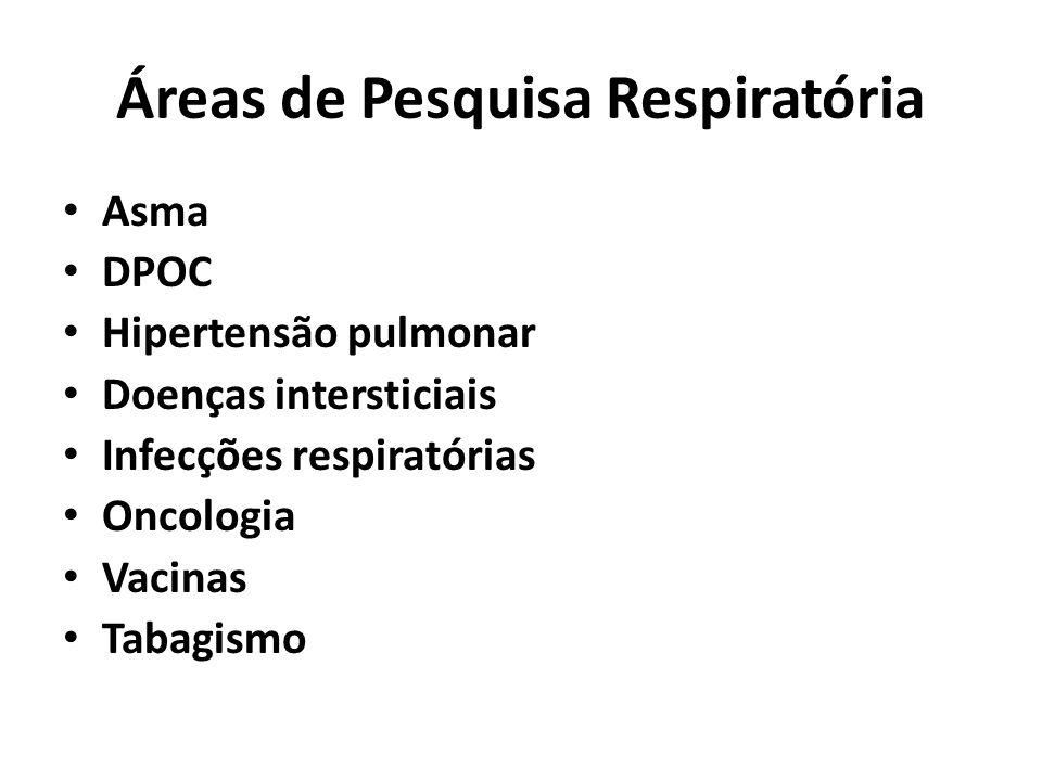 Áreas de Pesquisa Respiratória Asma DPOC Hipertensão pulmonar Doenças intersticiais Infecções respiratórias Oncologia Vacinas Tabagismo