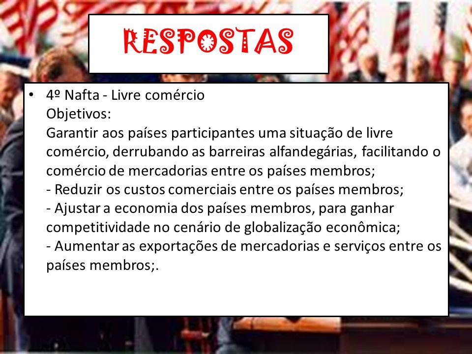 RESPOSTAS 5ª ) O Brasil seria um bom parceiro para o Nafta.
