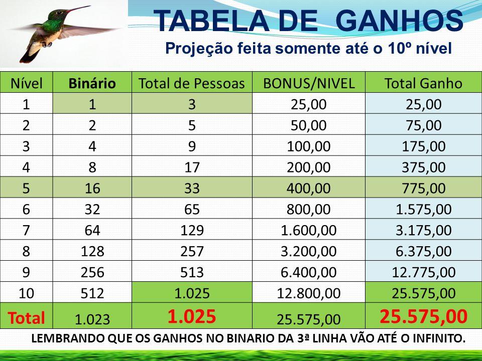 TABELA DE GANHOS Projeção feita somente até o 10º nível LEMBRANDO QUE OS GANHOS NO BINARIO DA 3ª LINHA VÃO ATÉ O INFINITO. NívelBinárioTotal de Pessoa