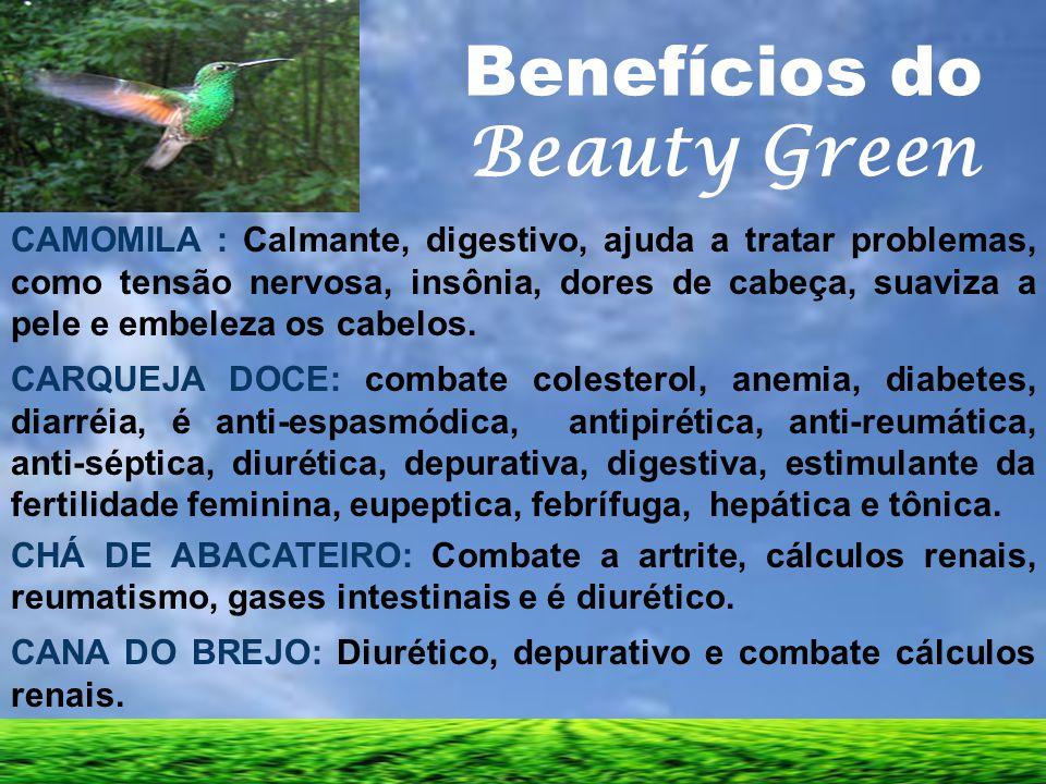 Benefícios do Beauty Green CAMOMILA : Calmante, digestivo, ajuda a tratar problemas, como tensão nervosa, insônia, dores de cabeça, suaviza a pele e e