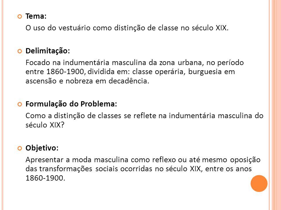 Tema: O uso do vestuário como distinção de classe no século XIX. Delimitação: Focado na indumentária masculina da zona urbana, no período entre 1860-1