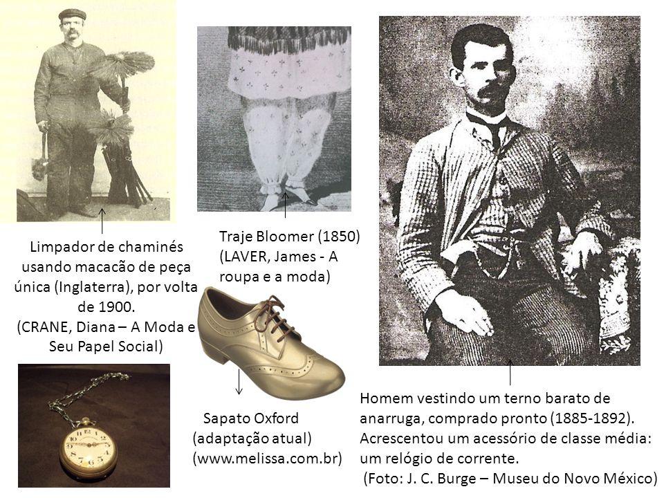 Limpador de chaminés usando macacão de peça única (Inglaterra), por volta de 1900. (CRANE, Diana – A Moda e Seu Papel Social) Homem vestindo um terno