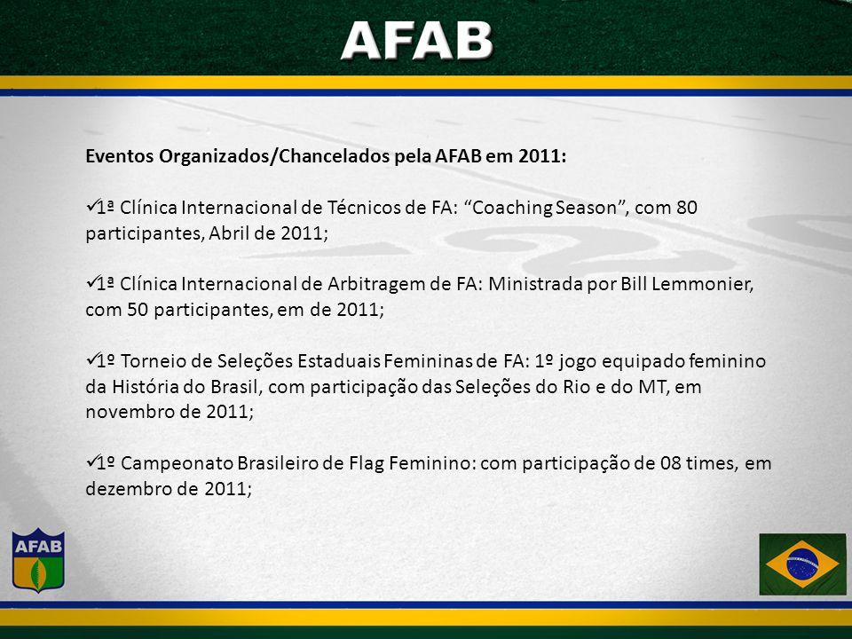 Eventos Organizados/Chancelados pela AFAB em 2011: 1ª Clínica Internacional de Técnicos de FA: Coaching Season, com 80 participantes, Abril de 2011; 1ª Clínica Internacional de Arbitragem de FA: Ministrada por Bill Lemmonier, com 50 participantes, em de 2011; 1º Torneio de Seleções Estaduais Femininas de FA: 1º jogo equipado feminino da História do Brasil, com participação das Seleções do Rio e do MT, em novembro de 2011; 1º Campeonato Brasileiro de Flag Feminino: com participação de 08 times, em dezembro de 2011;