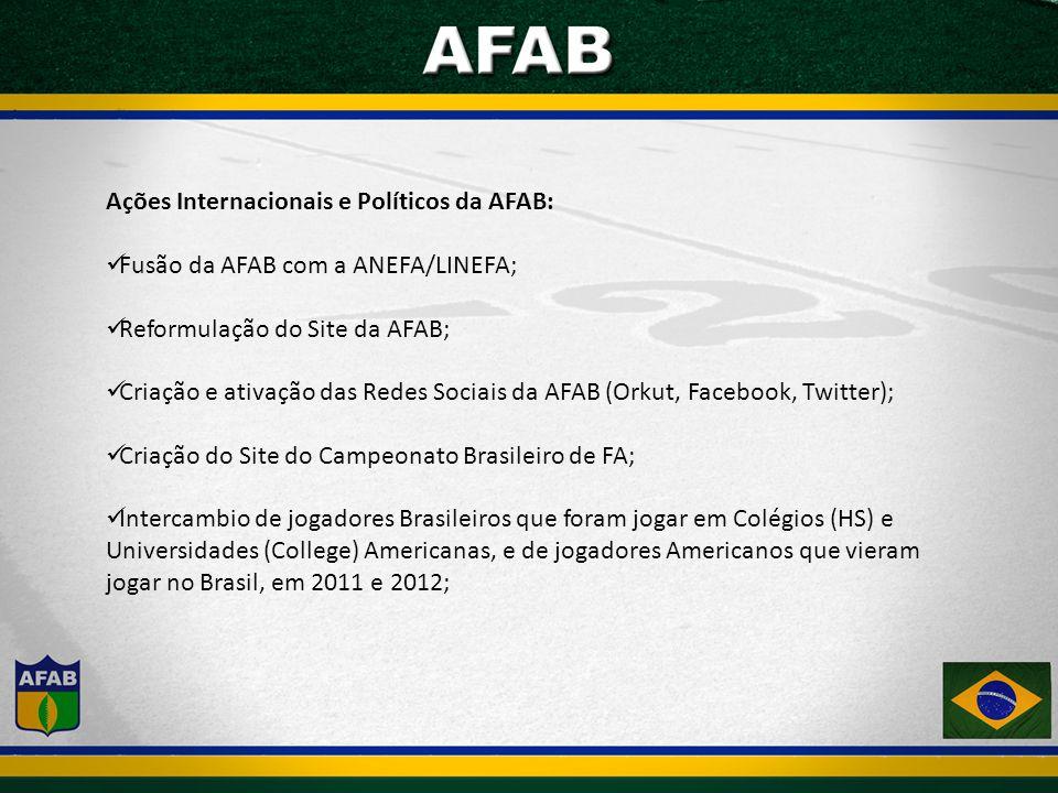 Ações Internacionais e Políticos da AFAB: Fusão da AFAB com a ANEFA/LINEFA; Reformulação do Site da AFAB; Criação e ativação das Redes Sociais da AFAB (Orkut, Facebook, Twitter); Criação do Site do Campeonato Brasileiro de FA; Intercambio de jogadores Brasileiros que foram jogar em Colégios (HS) e Universidades (College) Americanas, e de jogadores Americanos que vieram jogar no Brasil, em 2011 e 2012;