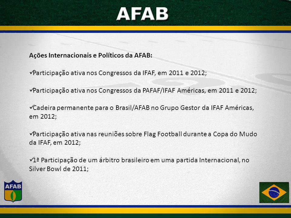 Ações Internacionais e Políticos da AFAB: Participação ativa nos Congressos da IFAF, em 2011 e 2012; Participação ativa nos Congressos da PAFAF/IFAF Américas, em 2011 e 2012; Cadeira permanente para o Brasil/AFAB no Grupo Gestor da IFAF Américas, em 2012; Participação ativa nas reuniões sobre Flag Football durante a Copa do Mudo da IFAF, em 2012; 1ª Participação de um árbitro brasileiro em uma partida Internacional, no Silver Bowl de 2011;