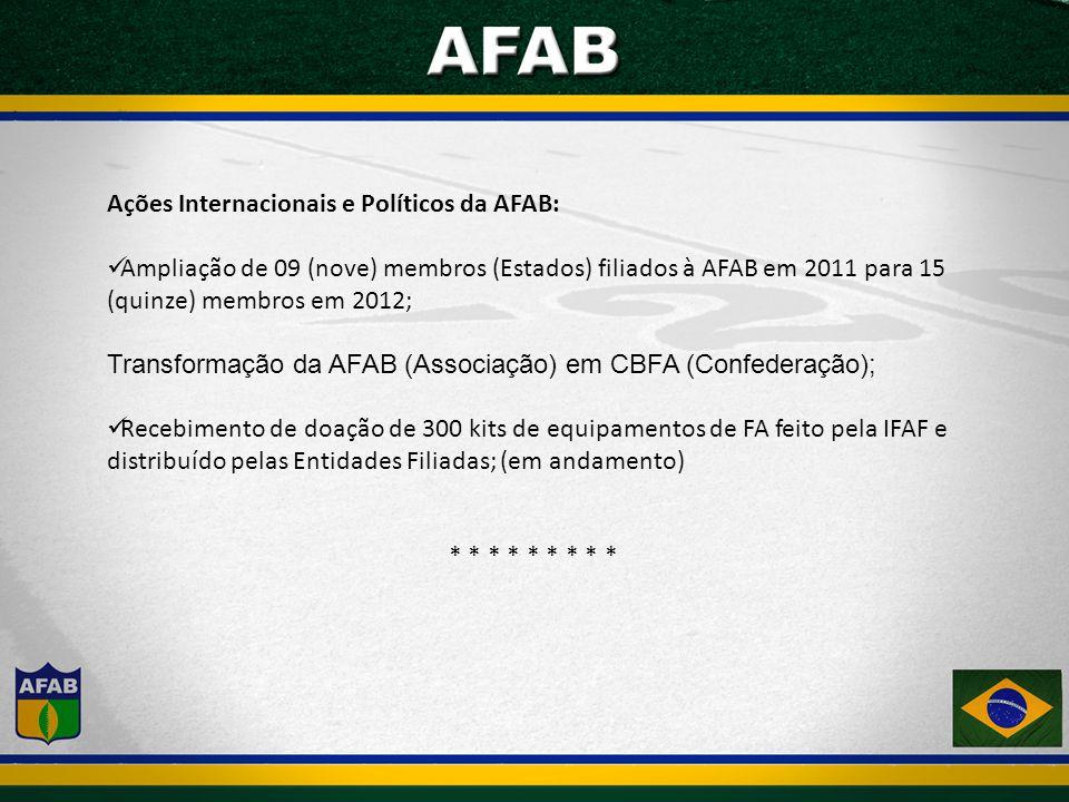 Ações Internacionais e Políticos da AFAB: Ampliação de 09 (nove) membros (Estados) filiados à AFAB em 2011 para 15 (quinze) membros em 2012; Transformação da AFAB (Associação) em CBFA (Confederação); Recebimento de doação de 300 kits de equipamentos de FA feito pela IFAF e distribuído pelas Entidades Filiadas; (em andamento) * * * * * * * * *