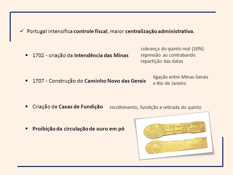 Portugal intensifica controle fiscal, maior centralização administrativa. 1702 - criação da Intendência das Minas cobrança do quinto real (20%) repres