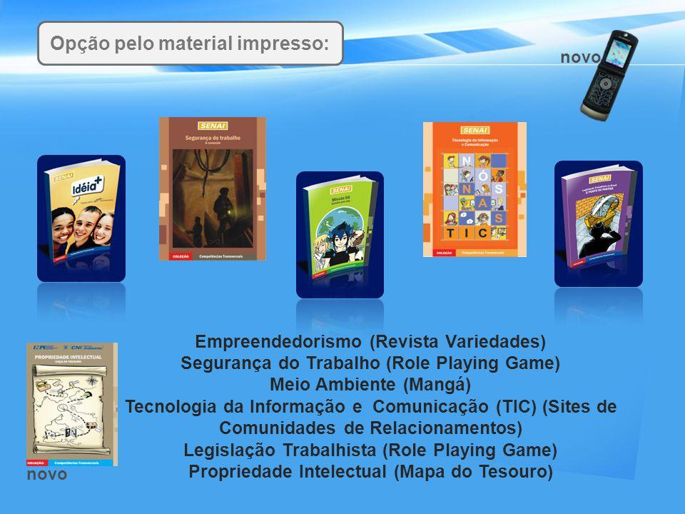 Empreendedorismo (Revista Variedades) Segurança do Trabalho (Role Playing Game) Meio Ambiente (Mangá) Tecnologia da Informação e Comunicação (TIC) (Si