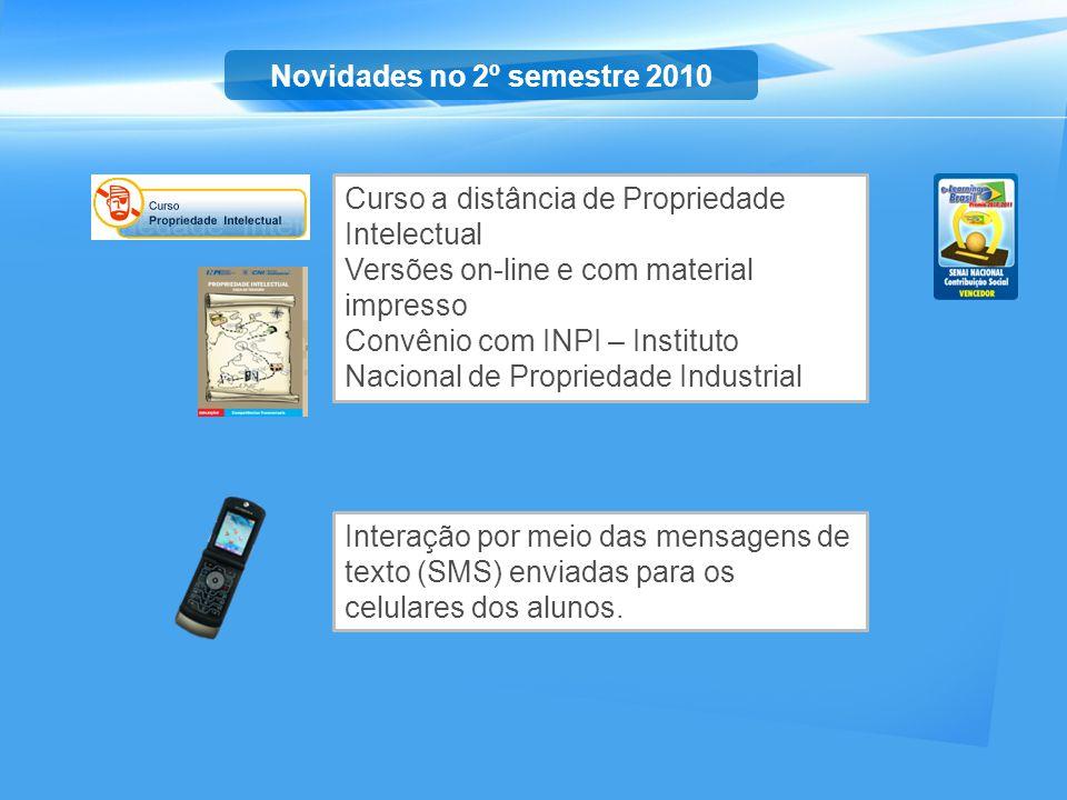 Interação por meio das mensagens de texto (SMS) enviadas para os celulares dos alunos. Novidades no 2º semestre 2010 Curso a distância de Propriedade