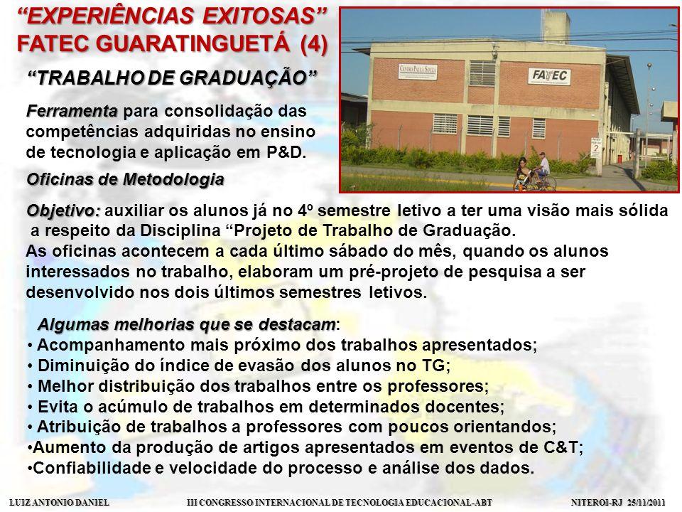 LUIZ ANTONIO DANIEL III CONGRESSO INTERNACIONAL DE TECNOLOGIA EDUCACIONAL-ABT NITEROI-RJ 25/11/2011 EXPERIÊNCIAS EXITOSAS FATEC INDAIATUBA (4) LABORATÓRIO DE MULTIMODALIDADE LOGÍSTICA & TRANSPORTE LOGÍSTICA & TRANSPORTE Projeto de construção interdisciplinar da Maquete Didática de Logística Intermodal desenvolvido por alunos dos Cursos de Logística Aeroportuária, Comércio Exterior, Gestão Empresarial, ADS e Rede de Computadores.