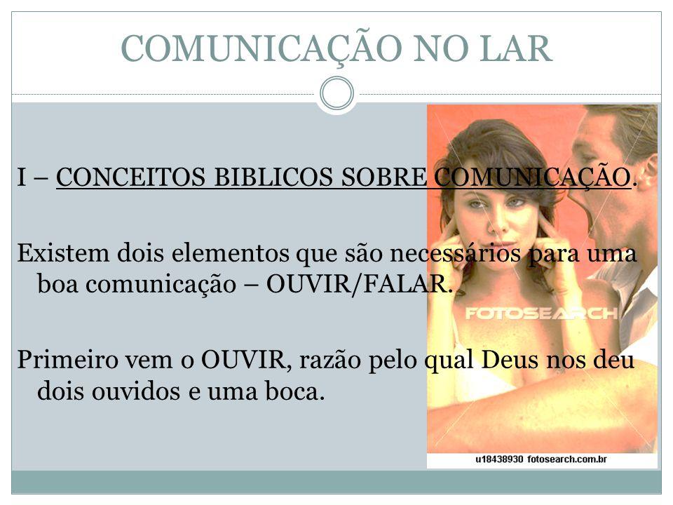 I – CONCEITOS BIBLICOS SOBRE COMUNICAÇÃO. Existem dois elementos que são necessários para uma boa comunicação – OUVIR/FALAR. Primeiro vem o OUVIR, raz