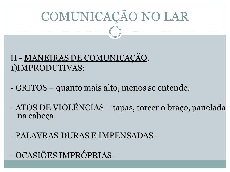 COMUNICAÇÃO NO LAR II - MANEIRAS DE COMUNICAÇÃO. 1)IMPRODUTIVAS: - GRITOS – quanto mais alto, menos se entende. - ATOS DE VIOLÊNCIAS – tapas, torcer o