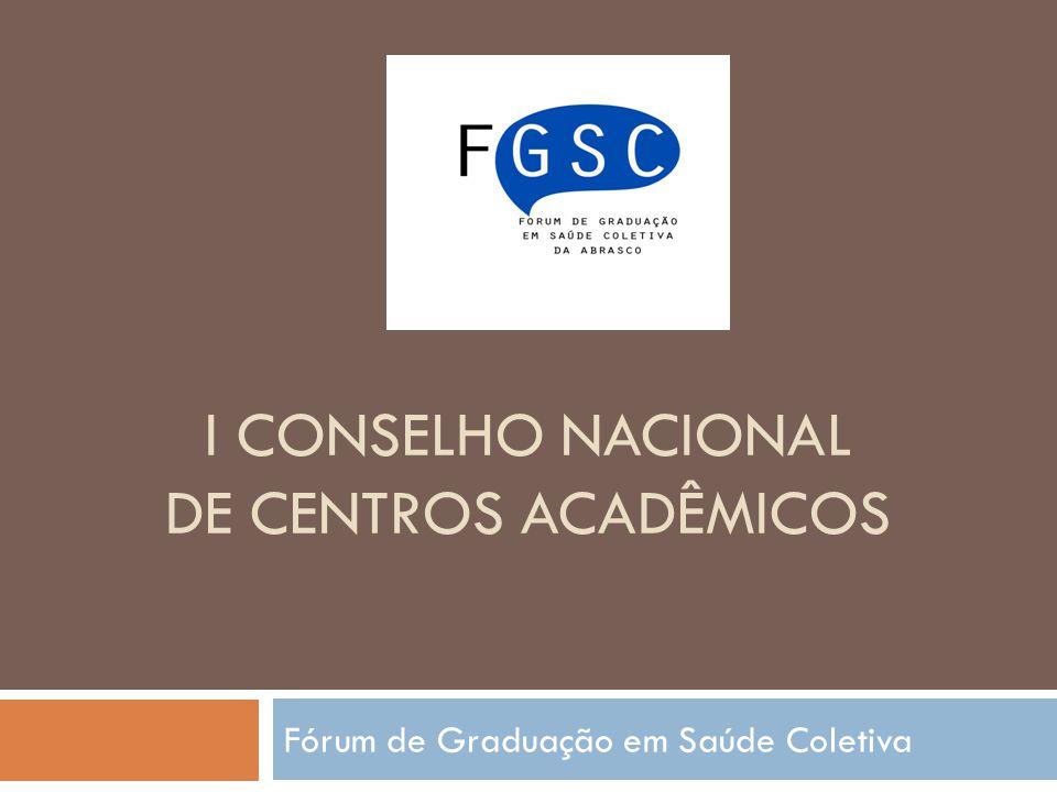 I CONSELHO NACIONAL DE CENTROS ACADÊMICOS Fórum de Graduação em Saúde Coletiva
