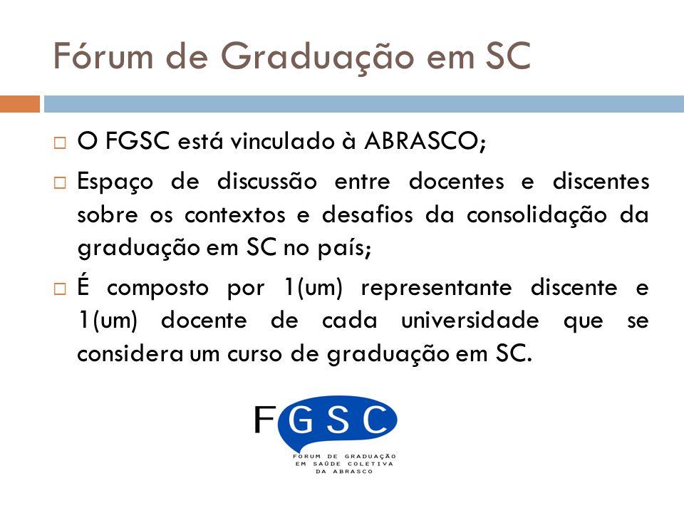 Fórum de Graduação em SC O FGSC está vinculado à ABRASCO; Espaço de discussão entre docentes e discentes sobre os contextos e desafios da consolidação