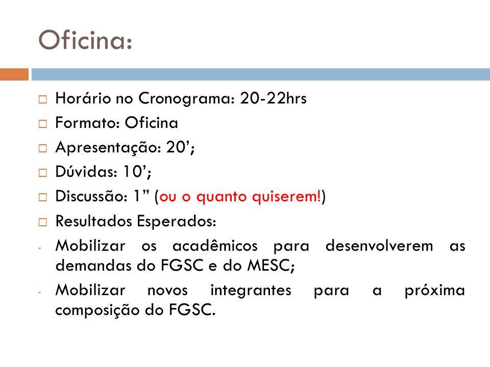 Oficina: Horário no Cronograma: 20-22hrs Formato: Oficina Apresentação: 20; Dúvidas: 10; Discussão: 1 (ou o quanto quiserem!) Resultados Esperados: -