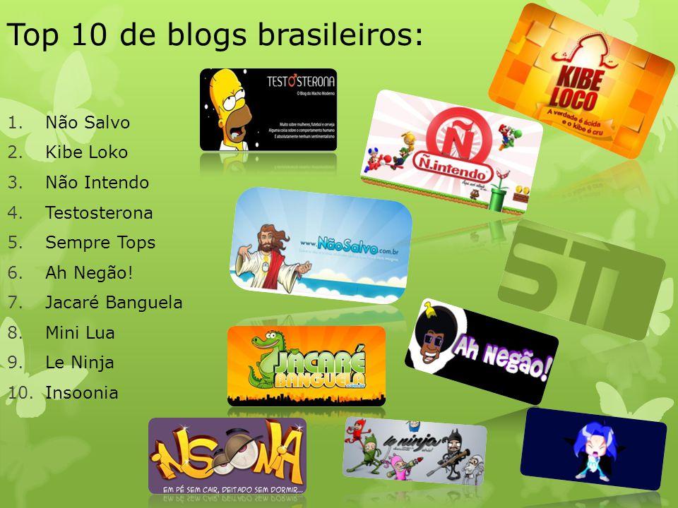 Top 10 de blogs brasileiros: 1.Não Salvo 2.Kibe Loko 3.Não Intendo 4.Testosterona 5.Sempre Tops 6.Ah Negão! 7.Jacaré Banguela 8.Mini Lua 9.Le Ninja 10
