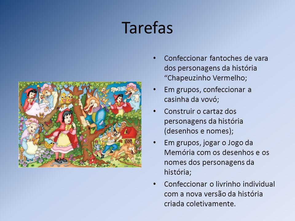 Tarefas Confeccionar fantoches de vara dos personagens da história Chapeuzinho Vermelho; Em grupos, confeccionar a casinha da vovó; Construir o cartaz