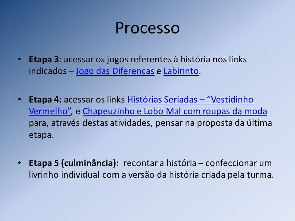 Processo Etapa 3: acessar os jogos referentes à história nos links indicados – Jogo das Diferenças e Labirinto.Jogo das DiferençasLabirinto Etapa 4: a