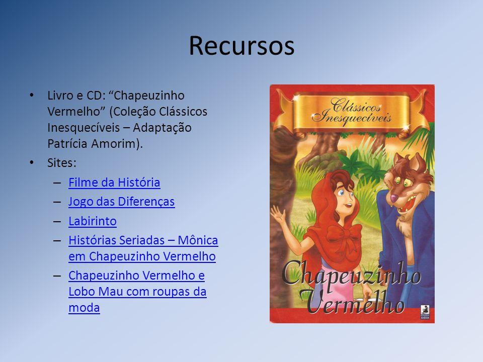 Recursos Livro e CD: Chapeuzinho Vermelho (Coleção Clássicos Inesquecíveis – Adaptação Patrícia Amorim). Sites: – Filme da História Filme da História