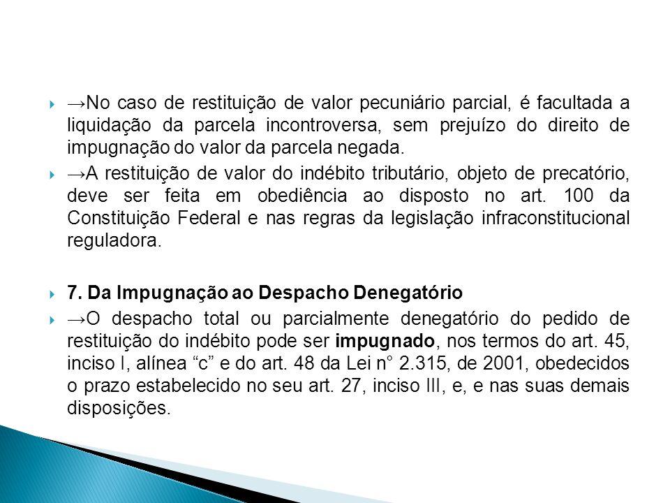 No caso de restituição de valor pecuniário parcial, é facultada a liquidação da parcela incontroversa, sem prejuízo do direito de impugnação do valor