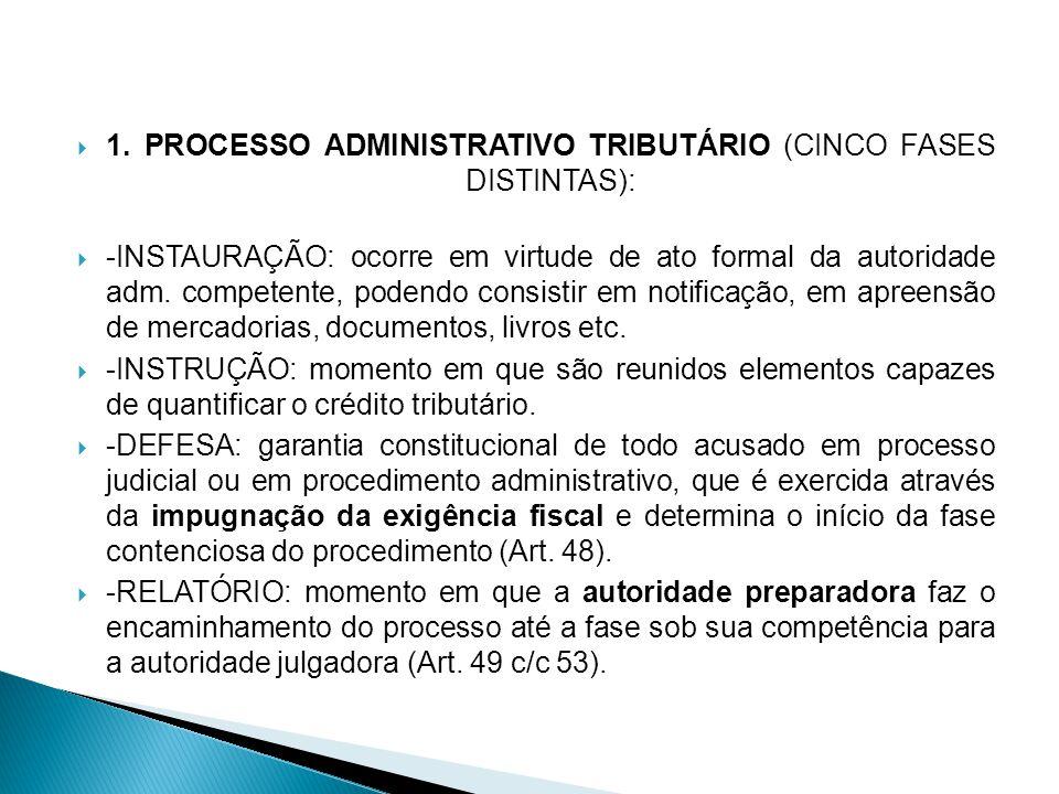 1. PROCESSO ADMINISTRATIVO TRIBUTÁRIO (CINCO FASES DISTINTAS): -INSTAURAÇÃO: ocorre em virtude de ato formal da autoridade adm. competente, podendo co
