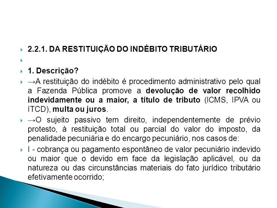 2.2.1. DA RESTITUIÇÃO DO INDÉBITO TRIBUTÁRIO 1. Descrição? A restituição do indébito é procedimento administrativo pelo qual a Fazenda Pública promove