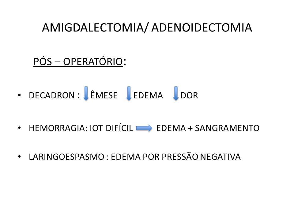 AMIGDALECTOMIA/ ADENOIDECTOMIA PÓS – OPERATÓRIO : DECADRON : ÊMESE EDEMA DOR HEMORRAGIA: IOT DIFÍCIL EDEMA + SANGRAMENTO LARINGOESPASMO : EDEMA POR PRESSÃO NEGATIVA