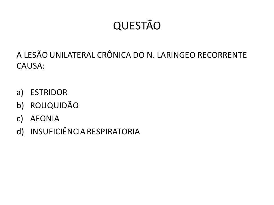 QUESTÃO A LESÃO UNILATERAL CRÔNICA DO N.