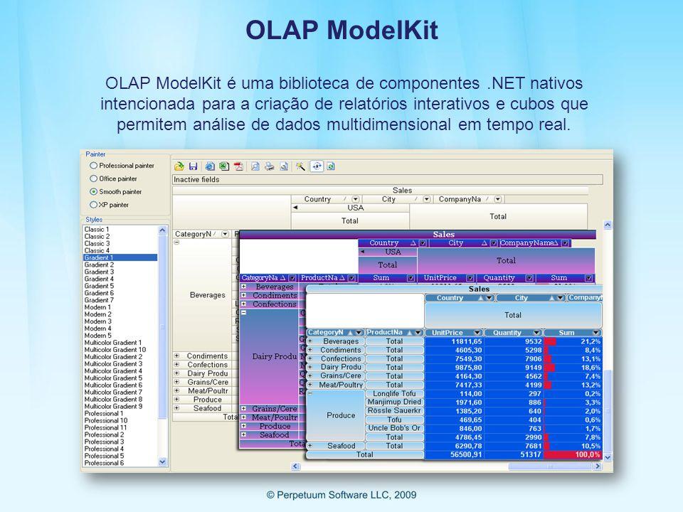 OLAP ModelKit OLAP ModelKit é uma biblioteca de componentes.NET nativos intencionada para a criação de relatórios interativos e cubos que permitem análise de dados multidimensional em tempo real.