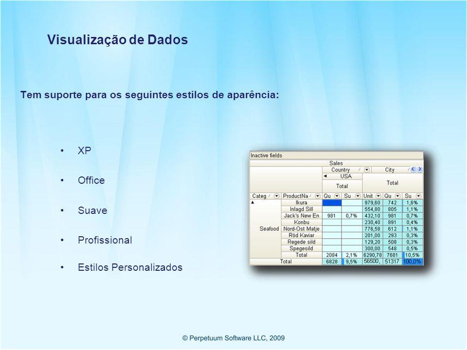 Visualização de Dados Tem suporte para os seguintes estilos de aparência: XP Office Suave Profissional Estilos Personalizados