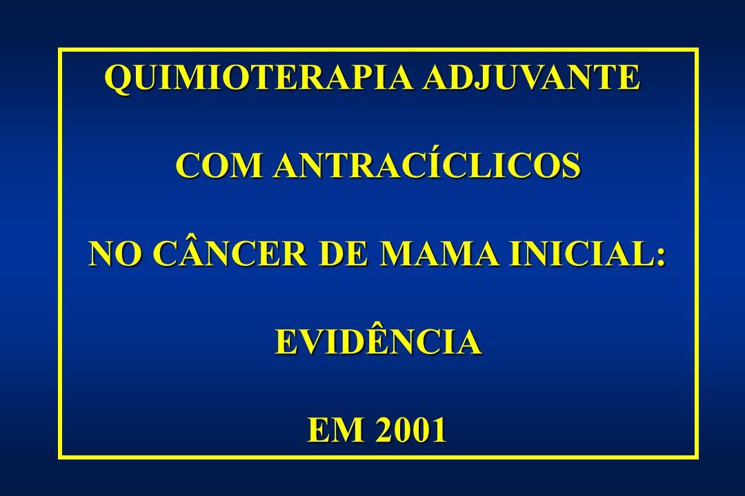 TRATAMENTO BASEADO EM ANTRACICLINAS ANTRACICLINAS Regimes baseados em antraciclinas (epirubicina ou doxorubicina) Regimes baseados em antraciclinas (epirubicina ou doxorubicina) comparados aqueles sem antraciclinas: 4 ciclos de EC ou AC equivalentes a 6 ciclos de CMF 4 ciclos de EC ou AC equivalentes a 6 ciclos de CMF regimes baseados em antraciclinas com 3 drogas regimes baseados em antraciclinas com 3 drogas (CEF/FEC/CAF) superior ao CMF
