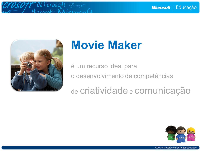 Movie Maker é um recurso ideal para o desenvolvimento de competências de criatividade e comunicação