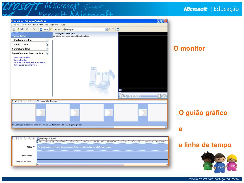 O guião gráfico e a linha de tempo O monitor