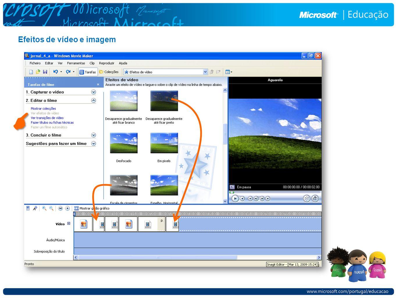 Efeitos de vídeo e imagem