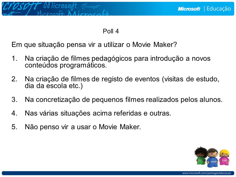 Em que situação pensa vir a utilizar o Movie Maker.