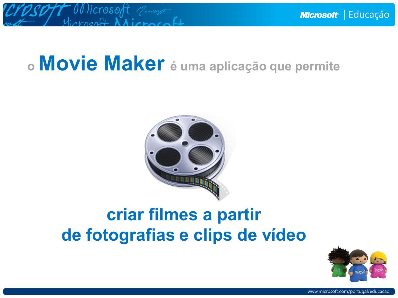 o Movie Maker é uma aplicação que permite criar filmes a partir de fotografias e clips de vídeo