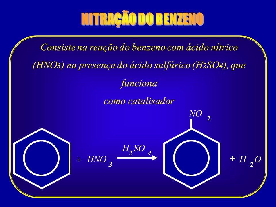 HNO 3 + 4 + NO 2 H SO 2 HO 2 Consiste na reação do benzeno com ácido nítrico (HNO 3 ) na presença do ácido sulfúrico (H 2 SO 4 ), que funciona como ca